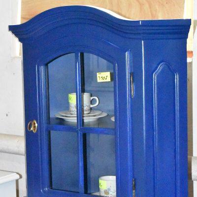 cena: 390 zł; boki: 52 cm x 52 cm; szer: 74 cm; gł: 42 cm; wys: 70 cm (witryna narożna wisząca po renowacji w pięknym kolorze Kobaltblau)
