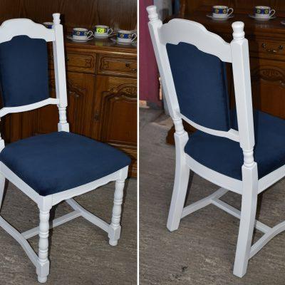 cena: 245 zł/szt; szer: 48 cm; gł: 51 cm; wys całkowita: 102,5 cm; wys siedziska: 51 cm (solidne dębowe krzesła zmalowane w bieli oraz nowa tapicerka typu velvet w granatowym kolorze)