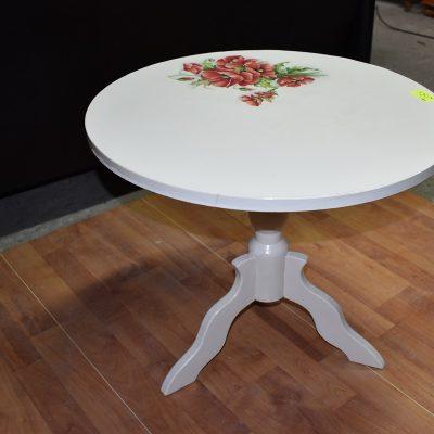 cena: 295 zł; stolik decupage z makami średnica: 59,5 cm; wys: 51,5 cm