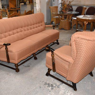 cena: 1100 zł; materiałowy komplet wypoczynkowy, sofa 3-osobowa + 2 fotele