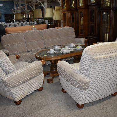 cena: 2150 zł; materiałowy komplet wypoczynkowy sofa 4-osobowa + 3 fotele