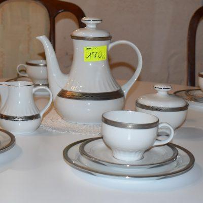 cena: 170 zł, komplet bawarskiej porcelany z pięknym srebrnym wykończeniem: dzbanek + cukiernica + mlecznik + 6 filiżanek ze spodkami i talerzami deserowymi