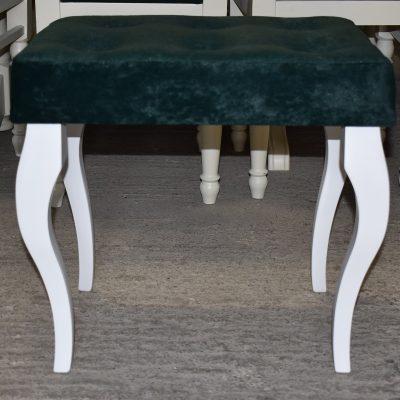 Nowa ławeczka cena: 245 zł; dł: 52 cm; szer: 38 cm; wys: 48 cm (tapicerka welurowa w kolorze ciemnej zieleni)