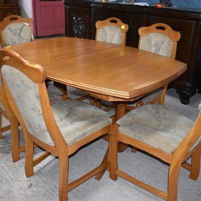 Dębowy komplet stół z 3 blatami + 6 krzeseł cena: 1860 zł