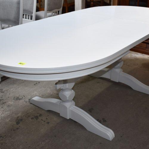cena: 980 zł; dł: 160 cm + 50 cm; szer: 100 cm; wys: 76 cm (dębowy stół zmalowany w śnieżnej bieli)