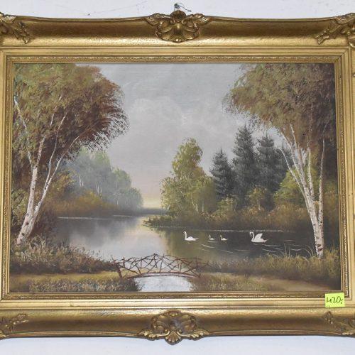 Obraz olejny malowany na płótnie cena: 420 zł, Obraz z ramą szer: 85 cm; wys: 68 cm, obraz bez ramy szer: 67 cm; wys: 48 cm